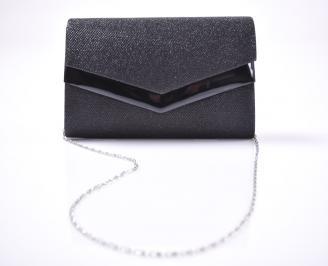 Абитуриентска чанта текстил ситен брокат черен
