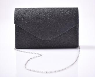 Абитуриентска чанта текстил ситен брокат черен 3