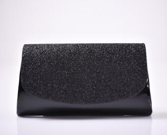 Абитуриентска чанта текстил/ситен брокат черна