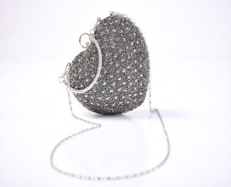 Абитуриентска чанта текстил едър брокат сребриста