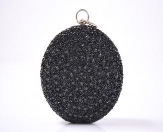 Елегантна  чанта текстил едър брокат черна