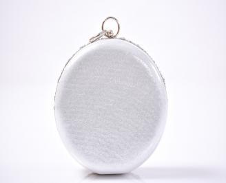 Елегантна чанта текстил едър брокат сребриста