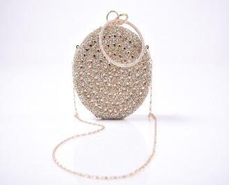 Елегантна чанта текстил едър брокат златиста