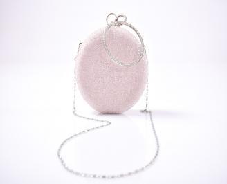 Елегантна чанта текстил едър брокат пудра