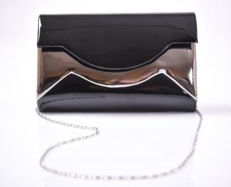 Елегантна чанта еко лак черна