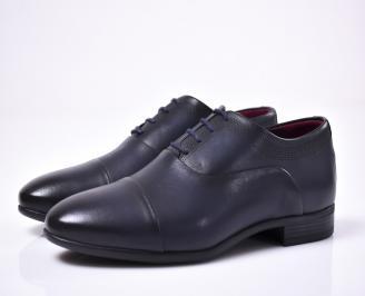 Мъжки официални обувки естествена кожа син
