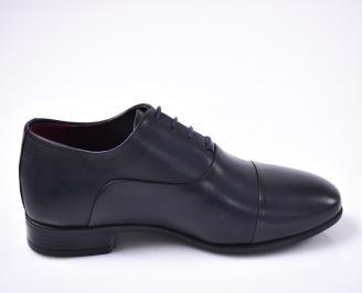 Мъжки официални обувки естествена кожа син 3