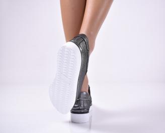 Дамски  равни обувки сребристи