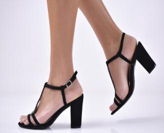 Дамски  елегантни сандали  еко велур черни