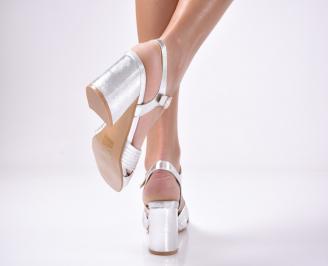 Дамски  елегантни сандали  еко кожа сребристи 3