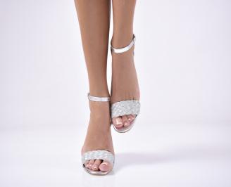 Дамски  елегантни сандали  текстил сребристи