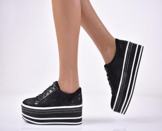 Дамски обувки на платформа еко велур черни
