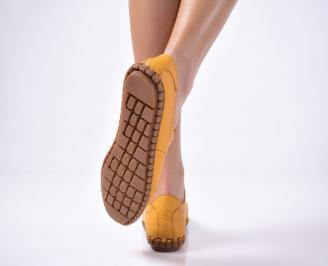 Дамски  равни обувки естествена кожа жълти