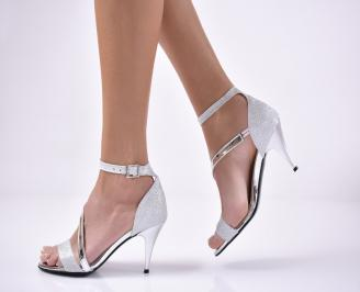 Дамски елегантни сандали  текстил ситен брокат