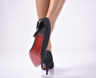 Дамски елегантни обувки текстил ситен брокат черни