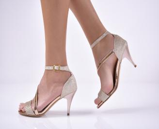 Дамски елегантни сандали  текстил/ситен брокат пудра