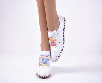 Дамски  равни обувки естествена кожа бели