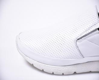 Мъжки ежедневни обувки естествена кожа бели