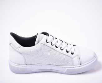Мъжки спортно елегантни обувки естествена кожа бели 3