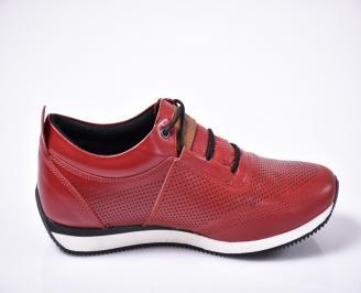 Мъжки спортно елегантни  обувки естествена кожа червени 3