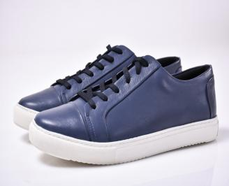 Мъжки спортно елегантни обувки  естествена кожа син