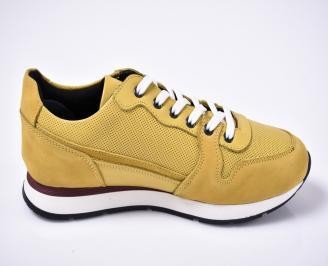 Мъжки спортно елегантни обувки естествена кожа жълти