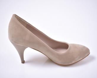 Дамски елегантни обувки гигант еко велур бежови