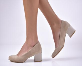 Дамски ежедневни обувки гигант еко велур бежови