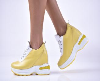Дамски обувки на платформа еко кожа жълти