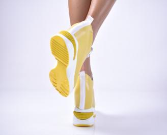 Дамски обувки на платформа еко кожа жълти 3