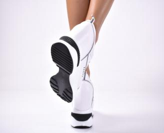 Дамски обувки на платформа еко кожа бели 3