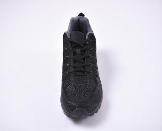 Мъжки маратонки текстил и еко кожа черни.