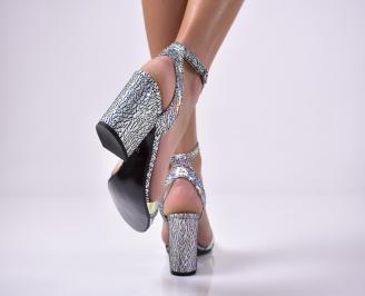 Дамски елегантни сандали еко кожа шарени