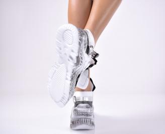 Дамски спортни обувки естествена кожа бели 3