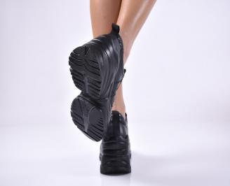 Дамски обувки на платформа естествена кожа черни 3