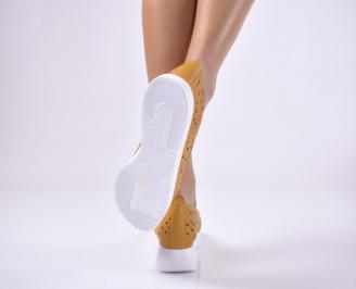 Дамски равни обувки естествена кожа жълти 3