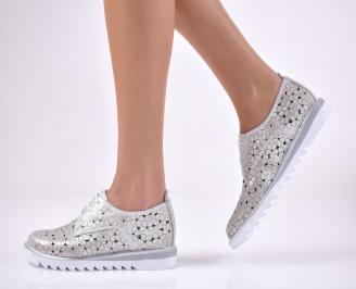 Дамски ежедневни обувки естествена кожа сребрист