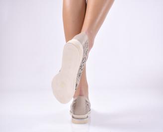 Дамски ежедневни обувки естествена кожа бежави
