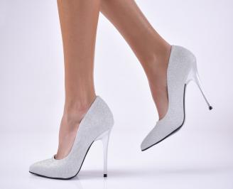Дамски елегантни обувки текстил брокат сребристи.