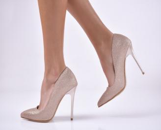 Дамски елегантни обувки текстил брокат златист.