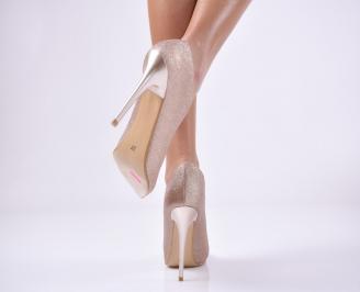 Дамски елегантни обувки текстил брокат златист. 3