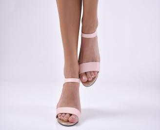 Дамски елегантни сандали еко кожа пудра