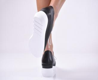 Дамски обувки на платформа естествена кожа черни. 3