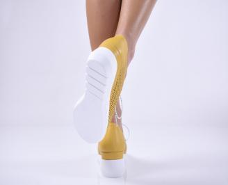 Дамски обувки на платформа естествена кожа жълти