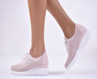 Дамски обувки на платформа естествена кожа пудра