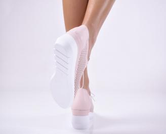 Дамски обувки на платформа естествена кожа пудра 3