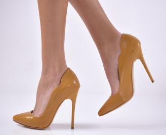 Дамски елегантни обувки еко кожа жълти
