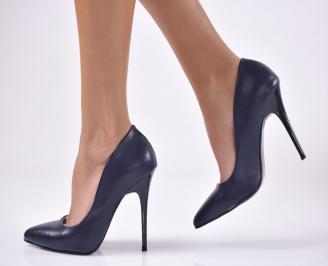 Дамски елегантни обувки еко кожа сини