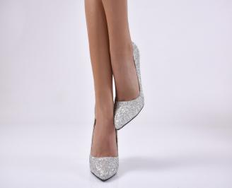 Дамски елегантни обувки  текстил/брокат сребрист