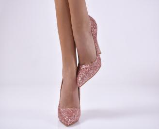Дамски елегантни обувки  текстил/брокат пудра